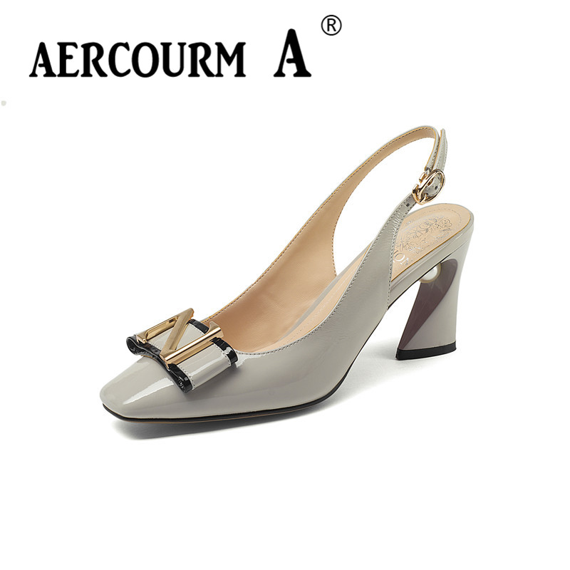Aercourm A Women Genuine Leather Sandals high Heel Leather Summer Shoes Lady Solid Summer Shoes 2018 New Black Pearl Sandals aercourm a 2018 women black fashion shoes female bright genuine leather shoes pearl high heel pumps bow brand new shoes z333