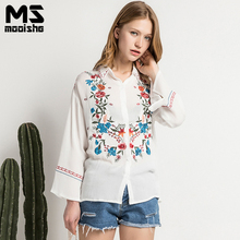 Mooishe Summer Casual Women Embroidered Shirt Long Flare Sleeve Polo Neck Symmetrical embroidery Retro White Women Shirts
