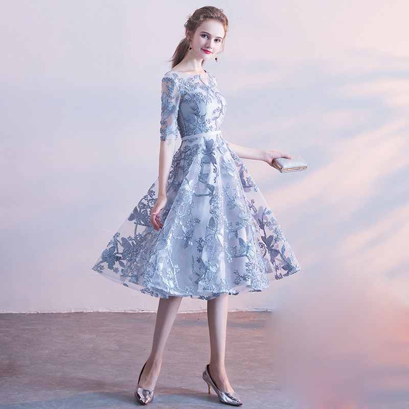 Blue Gray Oriental Style Banquet Dresses Chinese Vintage Traditional Wedding Cheongsam Elegant Evening Party Gowns Size XS-XXL