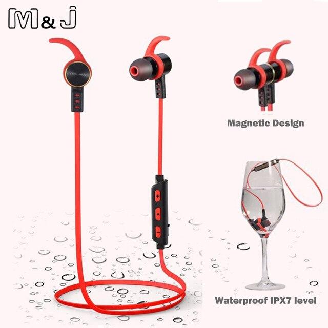 M & J Высокое Качество Водонепроницаемые Наушники Bluetooth Беспроводной Магнитный Стерео Спорт Бег Наушники-Вкладыши С Микрофоном для телефона