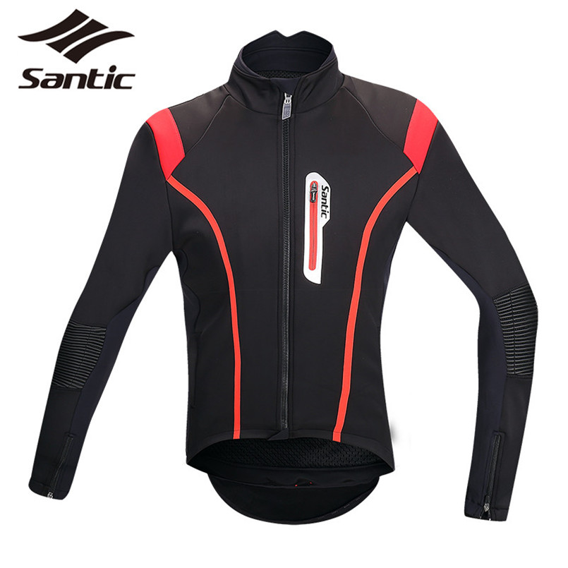 Santic Cycling Jacket Men High Collar Windproof Bicycle Bike Jacket Cycling Winter Thermal Fleece Long Sleeve Jacket Jersey 2017 new high grade cycling coat windproof bike bicycle clothing men
