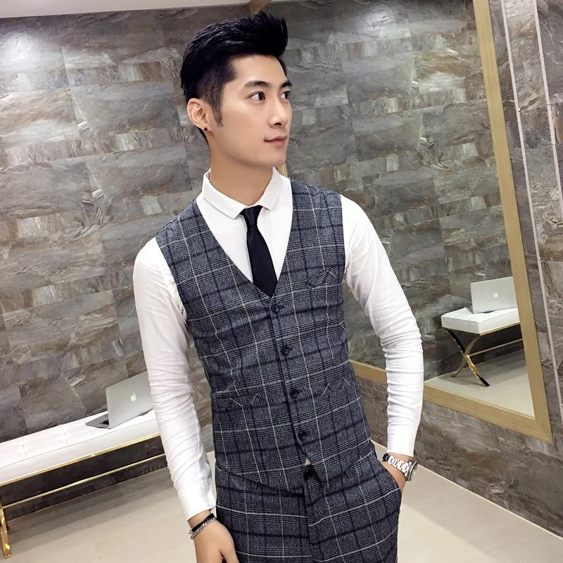 New New Arrival Rushed Wool Vests High-end Korean Slim Mens Vest Casual Suit Autumn Summer Wedding Best Man Waistcoat Blazer Men's Clothing