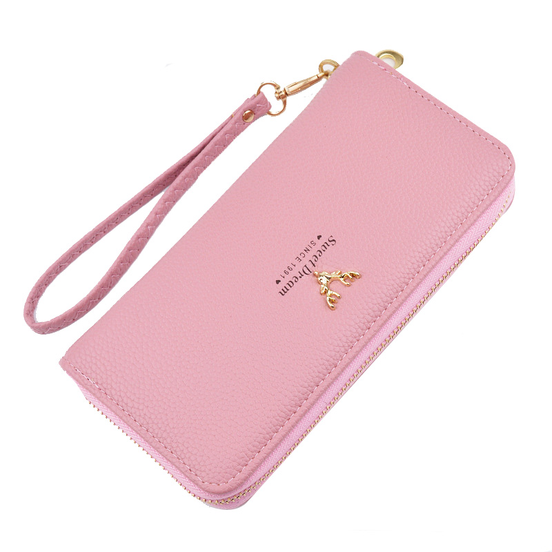 Luxury Ladies Purses Female Brand Wallets Women Long Zipper Purse Woman Wallet Leather Card Holder Clutch Portefeuille femme women purse solid color mini grind magic bifold leather wallet card holder clutch women handbag portefeuille femme dropshipping