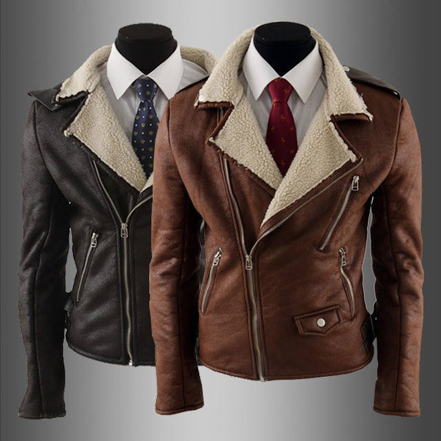 2016 New Brand Long Sleeve Leather Jacket Men Turn-down Collar Autumn Men's Leather Jacket Men's Slim Fit Leather Clothing Brown
