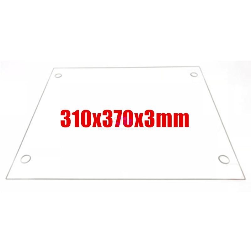 Piezas de impresoras 3D, placa de vidrio de borosilicato plano con agujeros de tornillo, borde pulido para impresora 3D DIY Tevo Tornado, 310x370x3mm