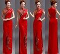 1pcs/lot free shipping Chinese long cheongsam woman long high split red cheongsam embroidery long satin dress short sleeve