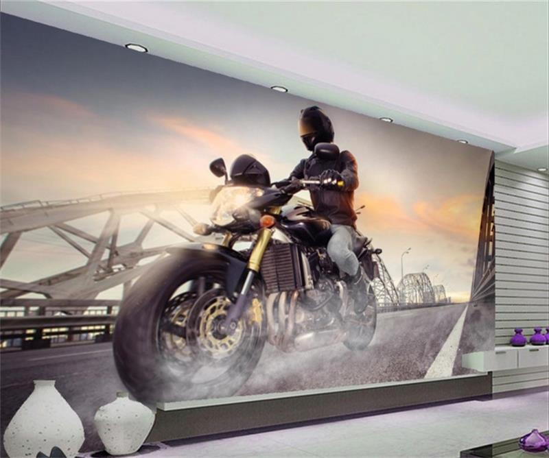 3d wallpaper custom room murals non-woven sticker Large motorcycle photo TV sofa background wall photo wallpaper for walls 3d tapety fashion black wallpapers 3d non woven grey sand wall murals living room tv sofa background wall paper roll for walls