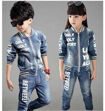 2016 NEW STYLE kids jeans for girls boys sets teenage baby jacket children coat +long pant 2 pcs