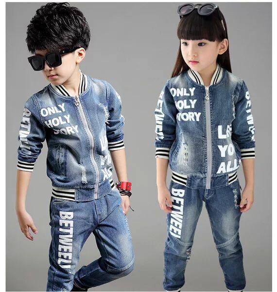 2017 NUEVO ESTILO de pantalones vaqueros de los niños para niñas niños establece adolescente chaqueta del bebé niños de la capa + pantalón largo 2 unids