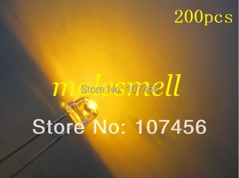 Emissor de Luz do Diodo 5mm do Amarelo do Strawhat do Diodo Amarelo do Chapéu de Palha de 200 Frete Grátis!! Diodo Grande – Ângulo Conduzido Pces 2000mcd 5mm