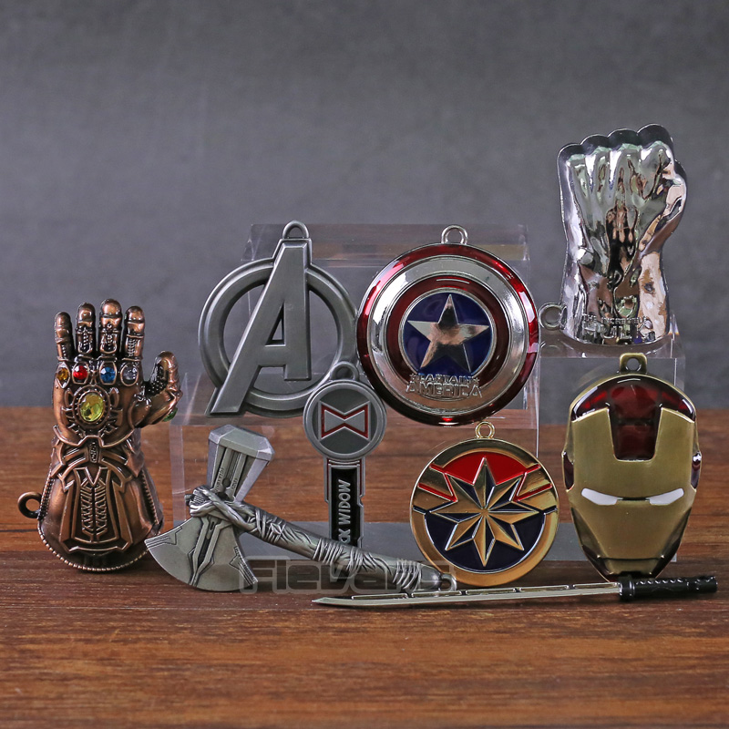 Avengers Endgame Captain America Shield Iron Man Helmet Mini Model Toys Metal Figures Pendants 9-packAvengers Endgame Captain America Shield Iron Man Helmet Mini Model Toys Metal Figures Pendants 9-pack