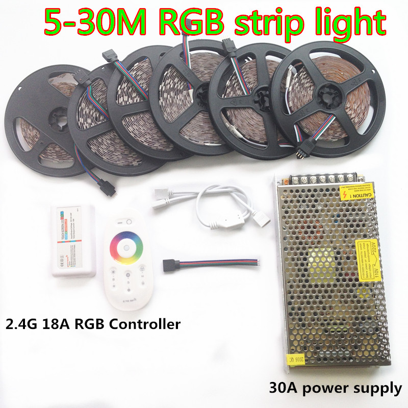20m LED Strip 5050 RGB Waterproof tape 5m 10m 15m 25m 30m IP65 + RF Remote controller +Power adapter Amplifier Kit Free shipping ac 100 240v led dmx512 rgb controller 86 glass touch panel rf 2 4g dmx512 signal dx3 for rgb led strip free shipping