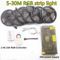 20m LED Strip 5050 RGB Waterproof tape 5m 10m 15m 25m 30m IP65 + RF Remote controller +Power adapter Amplifier Kit Free shipping