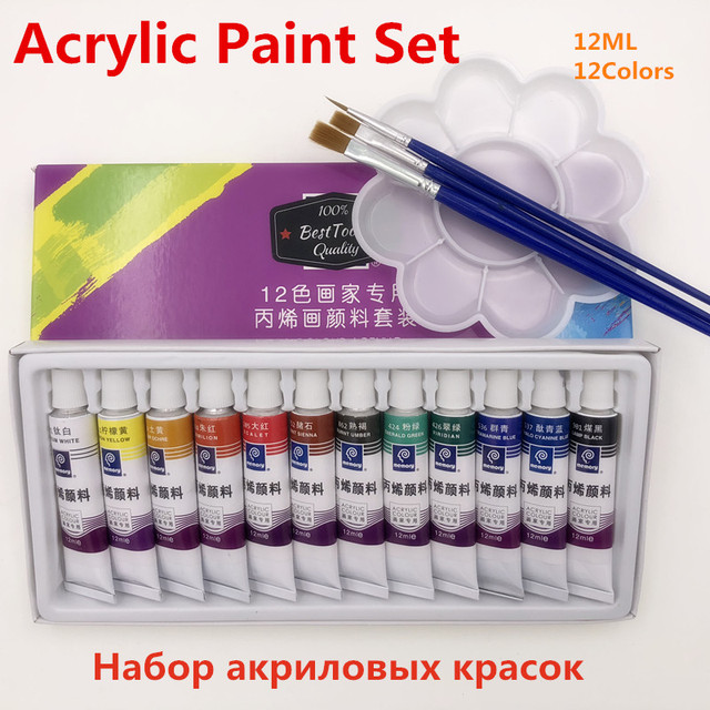High Quality 12ml 12 Colors Acrylic Paints Tube Set Professional