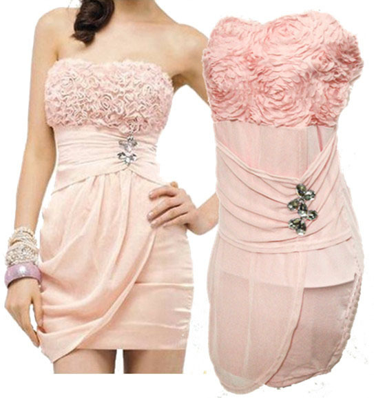 Hot Sale New Sexy Women's Clothing Cotton Satins Wear Strapless Stretchy Lace Dress Pink Rose Formal Attire Free Shipping