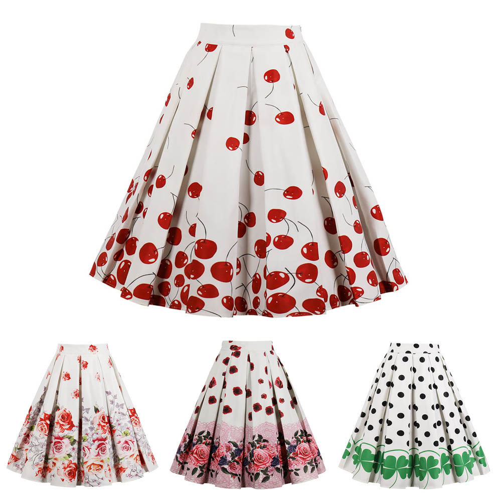 Women Lady A Line Skirt Pleated Vintage Floral Print Fashion High Waisted Clothing Skirt H9