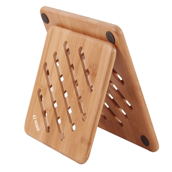 2 Size Bamboo Trivet Mat With Non Slip Button Design For Kitchen Accessories