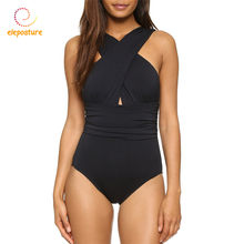 One Piece Swimsuit 2019 Sexy Swimwear Women Bathing Suit Swim Summer Beach Wear Bandage Bodysuit Monokini Swimsuit Black Red XL(China)