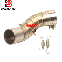Motorcycle Exhaust Connect Pipe Steel Ship on Middle Tube Adapter Link Pipe Escape for Kawasaki Z900 Z 900 Exhaust 2017 2018