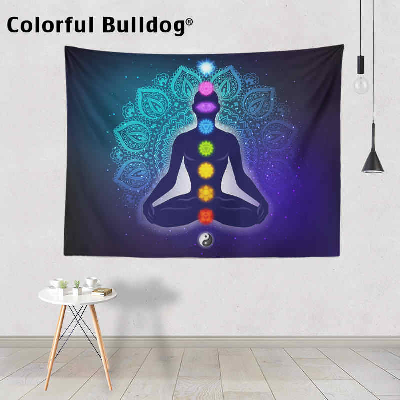 Heart Chakra Tapestries Yoga Meditation Watercolor Mandala Wall Hanging Wall Art Trippy Tapestry Third Eye Room Bedspread