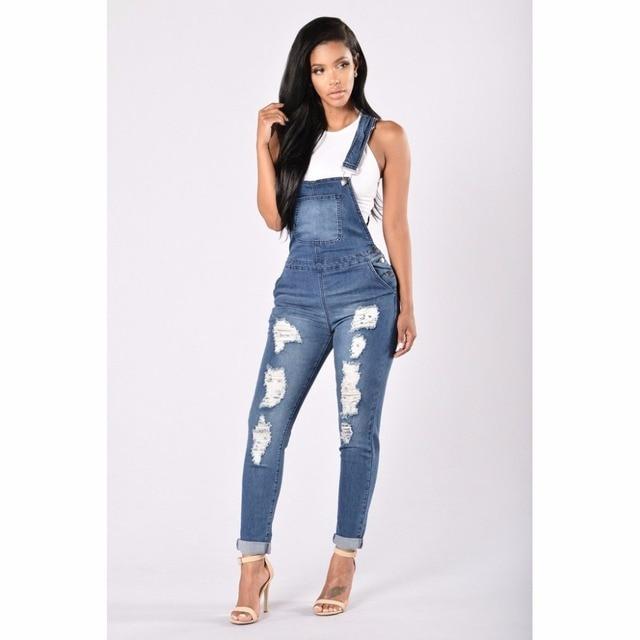 e65834c4b31 2018 Jeans Women Fashion Jumpsuit Denim Romper Suspender Overalls Casual  Long Trousers Pants Wide Leg Jumpsuits Rompers z30
