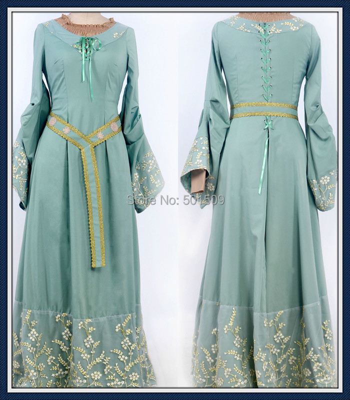 Medieval Renaissance Light Blue And White Gown Dress: Womens Adults Ladies Maleficent Princess Aurora Costume