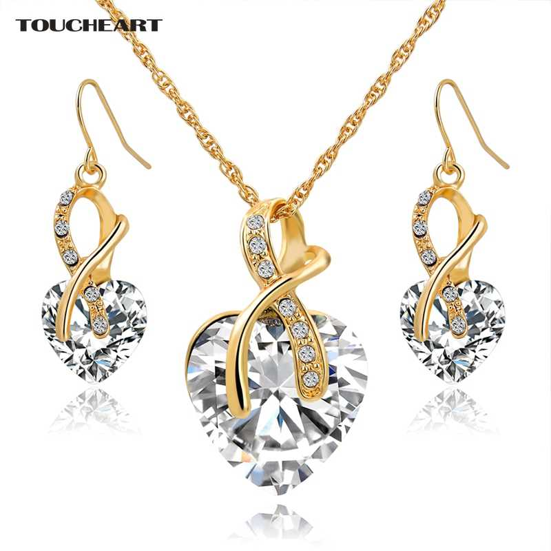 TOUCHEART Nigerian Wedding African Beads Jewelry Set Crystal Gold Heart Steampunk Necklaces White Earrings for Women Set140044