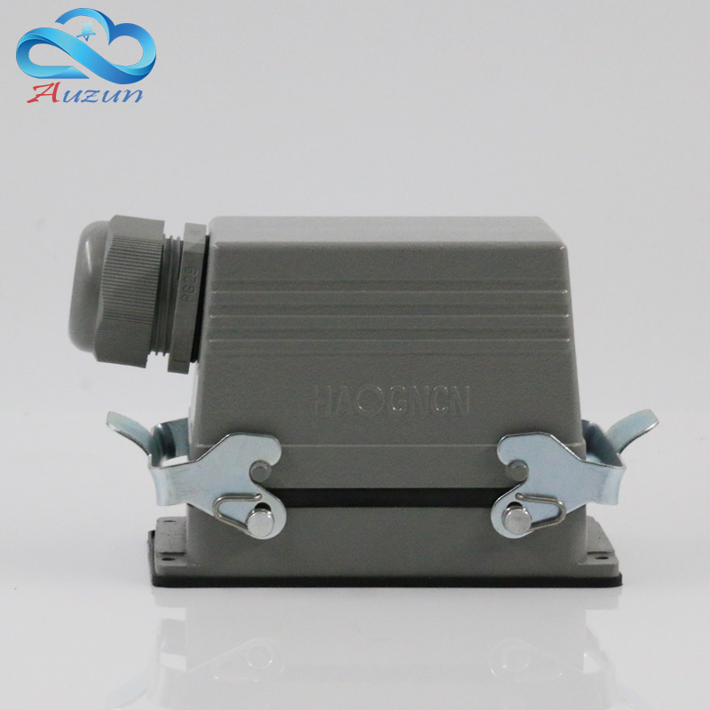 Rectangular heavy H48B - HE - 048-1 48 needle aviation plug connector side line 16 a500v two retaining screw heavy duty connectors hdc he 024 1 f m 24pin industrial rectangular aviation connector plug 16a 500v