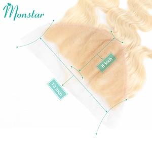 Image 3 - Monstar 13x6 frontale in pizzo 613 biondo brasiliano Remy capelli umani onda del corpo frontale merletto svizzero 13*6 chiusura frontale in pizzo da orecchio a orecchio