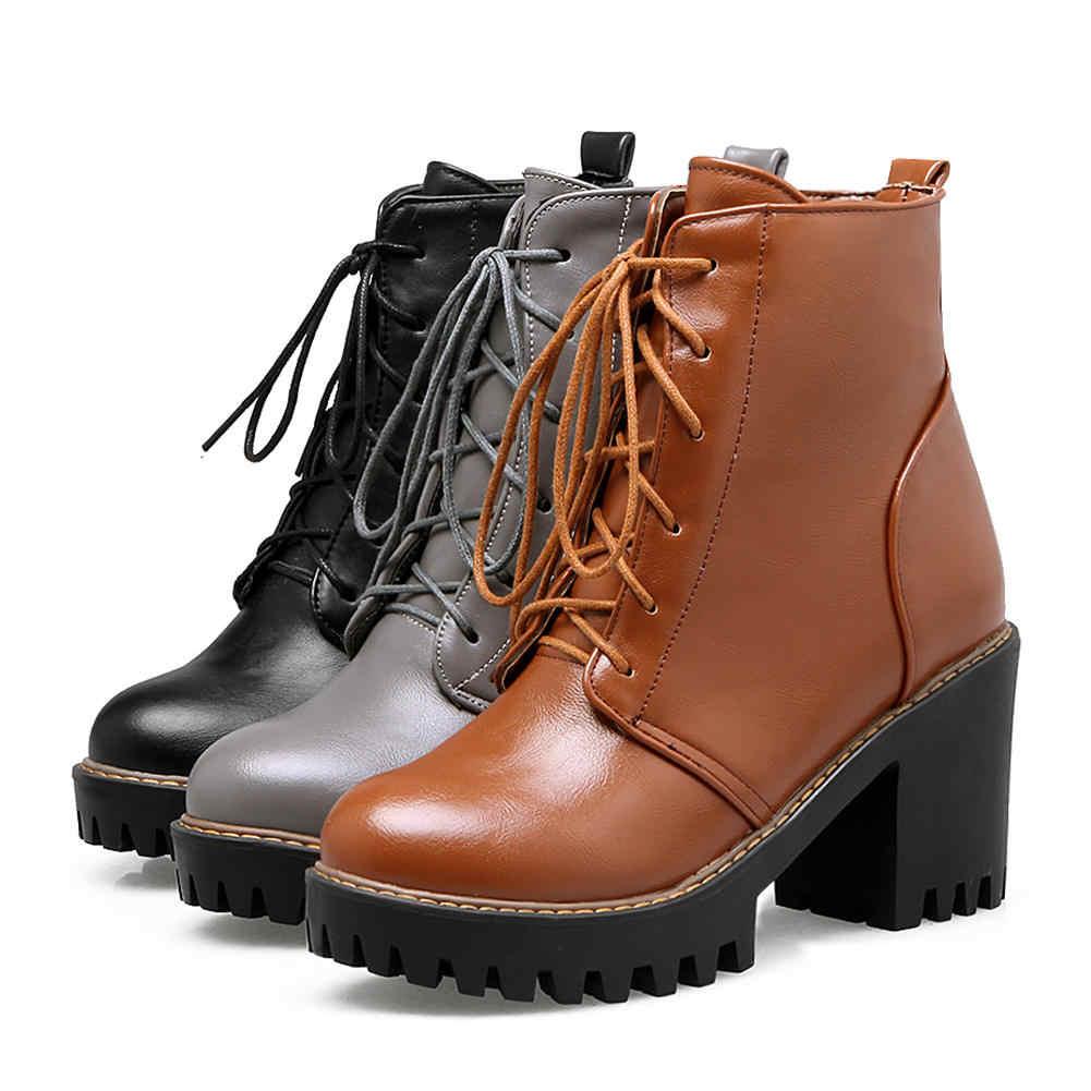 BONJOMARISA 2020 yüksek kaliteli katı siyah Platform motosiklet botları kadın sonbahar kış dantel up yüksek topuklar ayakkabı kadın 33-43