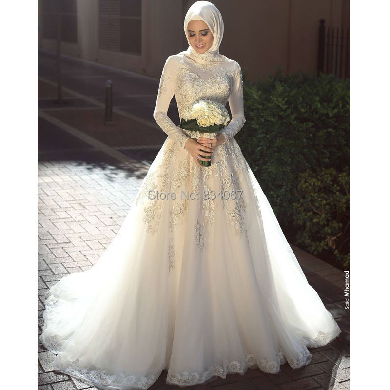 Islamic Wedding Dress 2017 Spandex Long Sleeves Top Quality Lace Appliques Said Mhamad Ball Gowns font