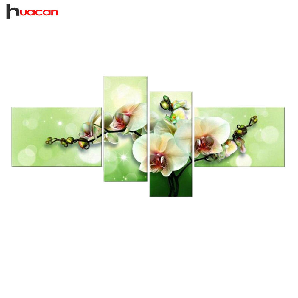 HUACAN DIY 5D Berlian Bordir Cross Stitch Berlian Lukisan Rumah Dekoratif Hadiah Fashion Bunga 4 pcs Menjahit F1531