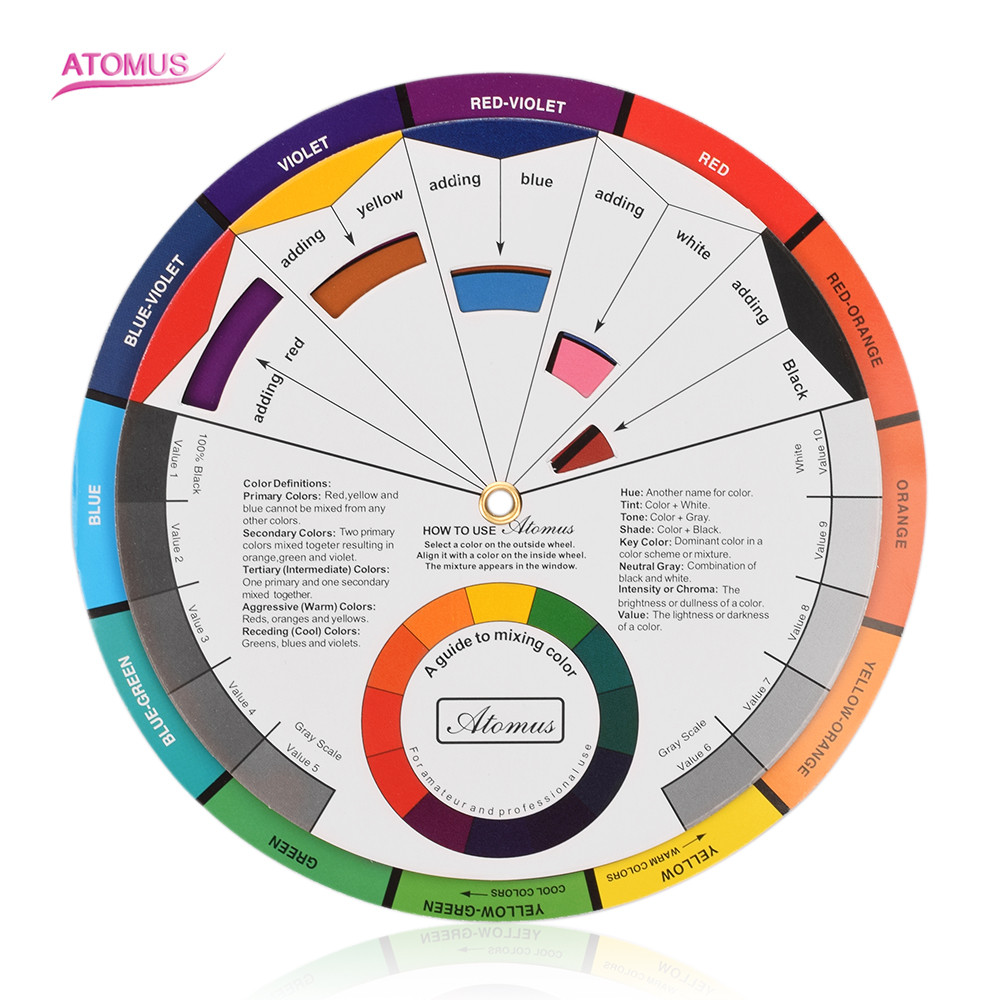 Wheel-Paper-Card Tattoo-Nail-Pigment Circle Mix-Guide 12-Color Central Rotates The Round