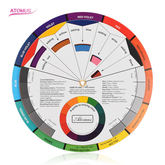 Professional Tattoo Nail Pigment 12 Color Wheel Paper Card Three-tier Design Mix Guide Round The Central Circle Rotates