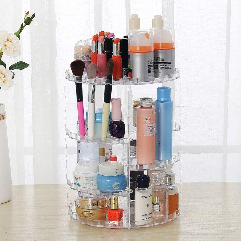 Bureau cosmétique organisateur vernis à ongles Rack femmes maquillage outils conteneur créatif clair 360 degrés rotatif maquillage boîte de rangement