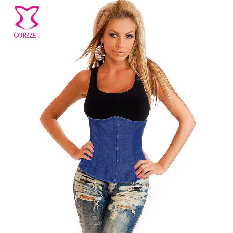 Corzzet Blue Denim Uderbust Corsets And Bustiers Waist Slimming Cincher Hot font b Shaper b font