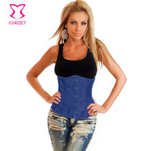 Corzzet Blue Denim Uderbust Corsets And Bustiers Waist Slimming Cincher Hot Shaper Body Sexy Gothic Corpetes E Espartilhos