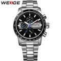 WEIDE Men's Sports Quartz Watch Blue Color Analog Complete Calendar Stainless Steel Watchband Waterproof Military Men Wristwatch