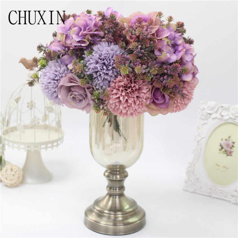 Pernikahan Bunga Buatan Baris Palsu Bunga Buket Rumah Meja Makan Cahaya Mewah DIY Pengaturan Ruang Tamu Dekorasi Bunga