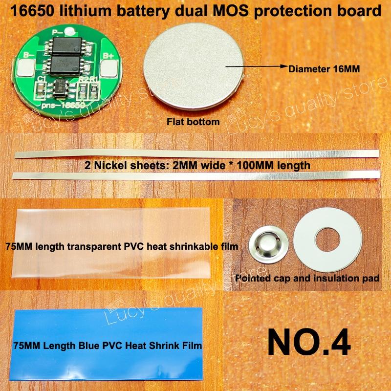 Купить с кэшбэком 10set 16650 lithium battery double MOS protection board set with nickel sheet 16650 battery 4.2V protection board diameter 16MM