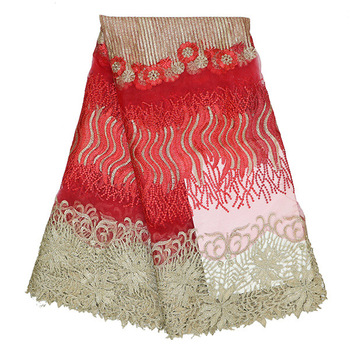 2016 Latest African French Lace Fabric Red High Quality African Tulle Lace with Sequins Fabric For Wedding