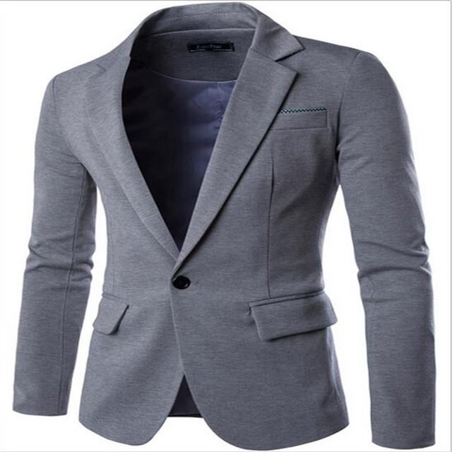 2016 Marca de Roupas Homens Blazer Um Botão Homens Blazer Slim Fit Traje Homme Terno Jaqueta Blazer Masculino Tamanho M-2XL