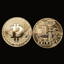 Gold Plated Bitcoin Coin Collectible BTC Coin Art Collection Gift Physical Metal antique imitation home party deco -2F