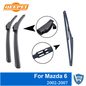 QEEPEI tapete delantero y trasero sin brazo para Mazda 6 2002-2007 parabrisas de goma Natural de alta calidad 18'' + 22