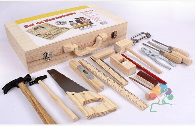 ferramentas de madeira conjunto martelo chave de