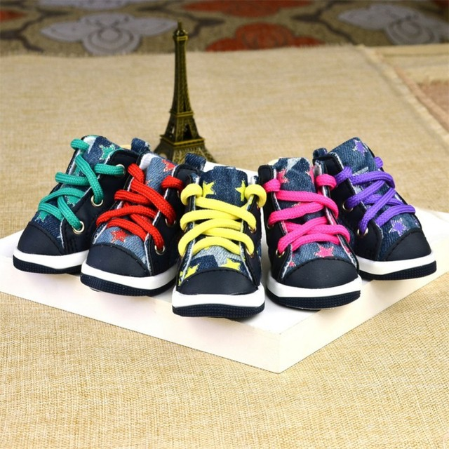 4pcs Winter Outdoor Warm Pet Dog Denim Shoes Puppy Canvas Shoes Small Dogs Sport Casual Anti-slip Boots Dog Socks Pet Suppliers