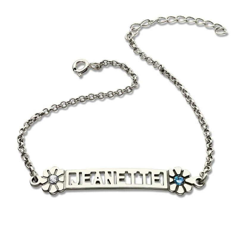 Custom Birthstone Name Bracelet in Silver Cut Out Nameplate Charm Bracelet Adorable Initials Bracelet Best Bridesmaids Gift