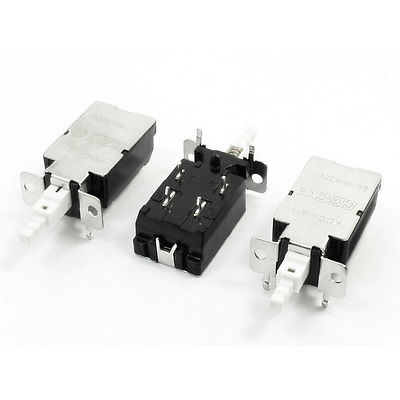 3pcs AC250V 8A 4 Pin Locking DPST Push Button Power Switch KDC-A11