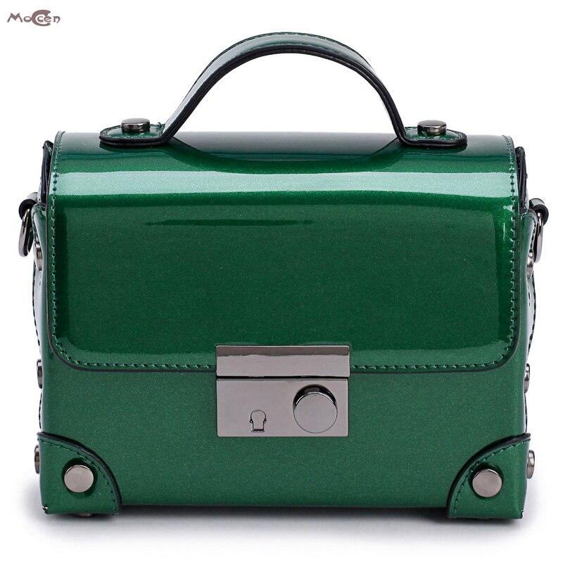 Moccen Box Shape Tote Bag Patent Leather Shoulder Bag For Women 2017 Messenger Bags Ladies Bao Bao Luxury Brand Satchel patent leather handbag shoulder bag for women