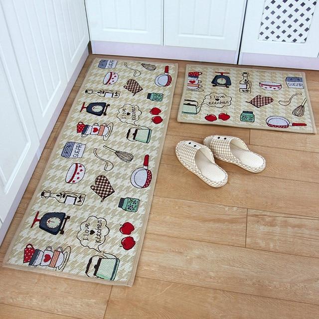 Yazi Kitchen Theme Mat Fabric Floor Carpet Bedroom Kitchen Runner Rug Anti  Slip Door Mat Tapete